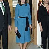 Letizia Styled Her Zara Design With Teal Pumps and a Black Clutch