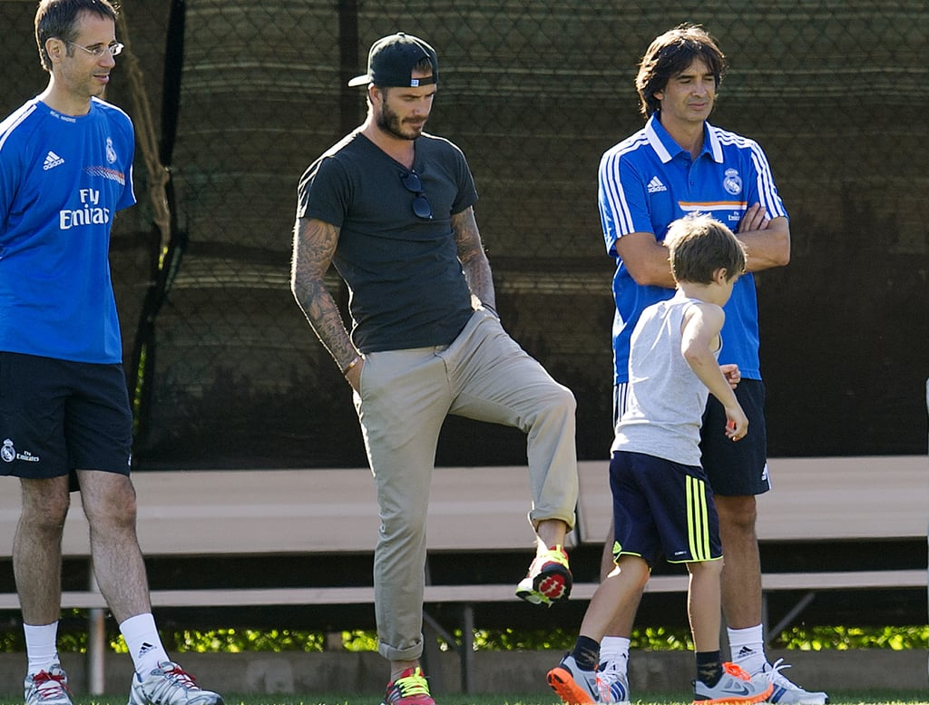 David Beckham spent time with his son Cruz as they checked out the Real Madrid team training.