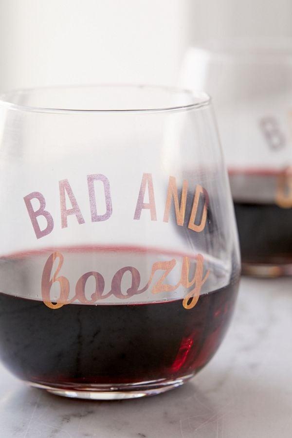 Bad + Boozy Stemless Wine Glass
