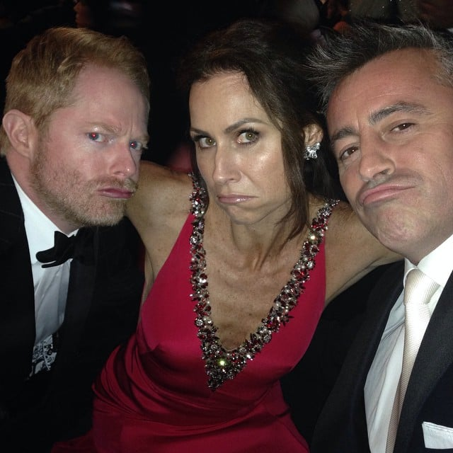 """Minnie Driver was surrounded by funny men when she posed with Jesse Tyler Ferguson and Matt LeBlanc. """"A posse of happy losers,"""" she wrote."""
