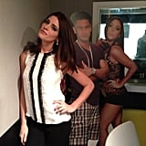 Ashley Greene struck a pose with cardboard cutouts of the Jersey Shore cast.  Source: Twitter User AshleyMGreene