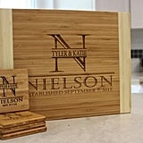 Personalized Bamboo Cutting Board and Set of Four Bamboo Coasters