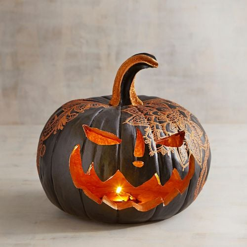 Halloween LED Light-Up Jack-o-Lantern with Lace Detail