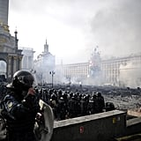 Independence Square was filled with fire and smoke as protesters clashed with police.
