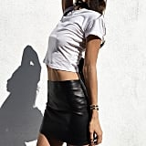 Cropped With a Sleek Leather Skirt