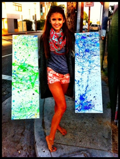 Nina Dobrev showed off her artistic side by painting two canvases.  Source: Twitter User ninadobrev