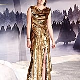 We couldn't get enough of the embellished gold Elie Saab gown that Kristen wore at the Germany premiere of Breaking Dawn Part 2 in November 2012. She showed off a pair of Christian Louboutin cage heels — and lots of leg — thanks to the gown's thigh-high slit.