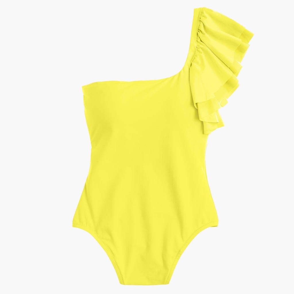 J.Crew Ruffle-Shoulder Swimsuit