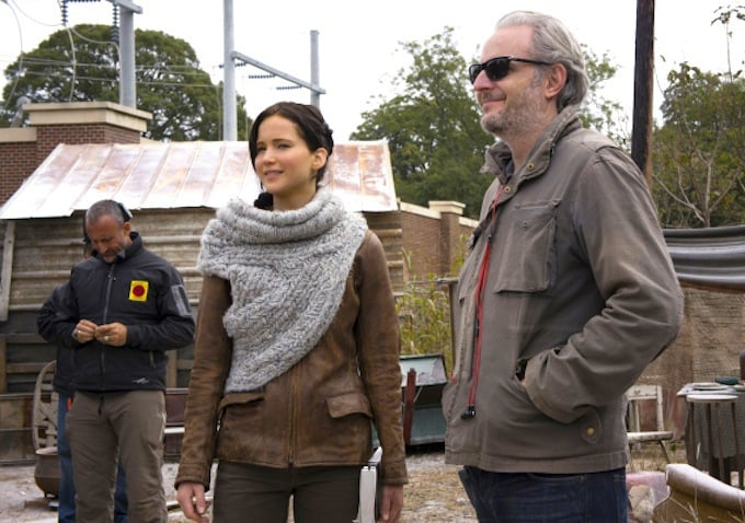Jennifer Lawrence on set with director Francis Lawrence.
