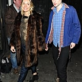 Sienna Miller wore a fur coat with Tom Sturridge at the No Quarter press night in London.
