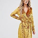 Club L Crushed Gold Velvet Wrap Dress