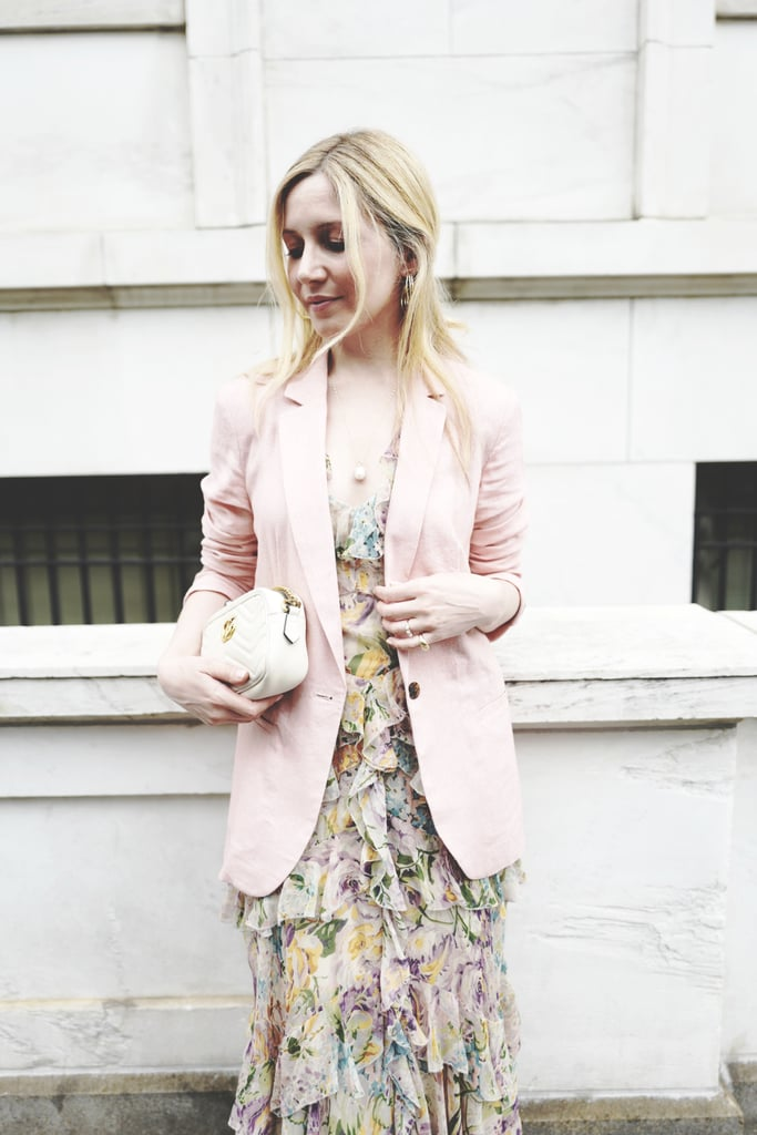 This light pink blazer couldn't be more perfect atop a ditsy