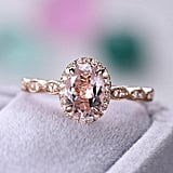 Rose Gold Oval Cut Natural Morganite Engagement Ring