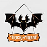 Trick-or-Treat Bat Halloween Hanging Wood Sign