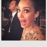 Julie Bowen snagged a shot of Jessica Alba messing around at an awards dinner. Source: Julie Bowen on WhoSay