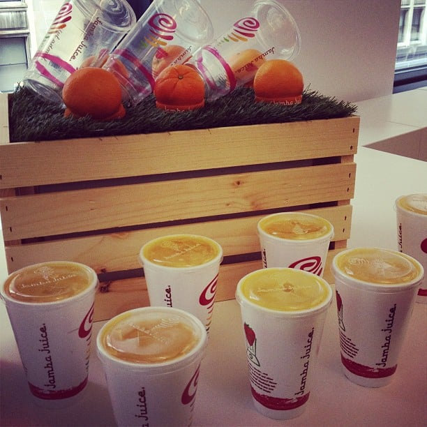 Jamba Juice surprised the office with its newest smoothie flavor, Tropical Harvest.
