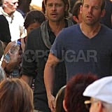Brad Pitt Spends Father's Day Looking Sexy on Set While Angelina Jolie Travels to Italy