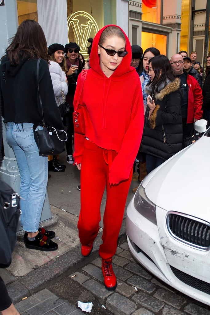 The model looked sporty in an all-red ensemble from RtA Brand.
