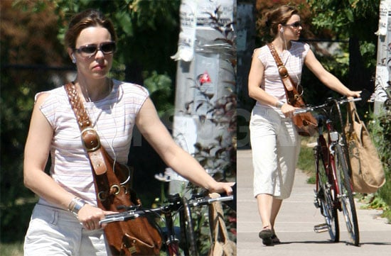 Rachel McAdams Takes Her Bike For A Walk