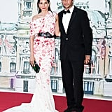 Astrid Muñoz hit the red carpet in an ultraromantic floral Giambattista Valli Haute Couture gown and Luigi Scialanga for Giambattista Valli Haute Couture belt.