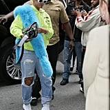Take a cue from Rihanna and wear your white booties with a neon hoodie and ripped jeans.