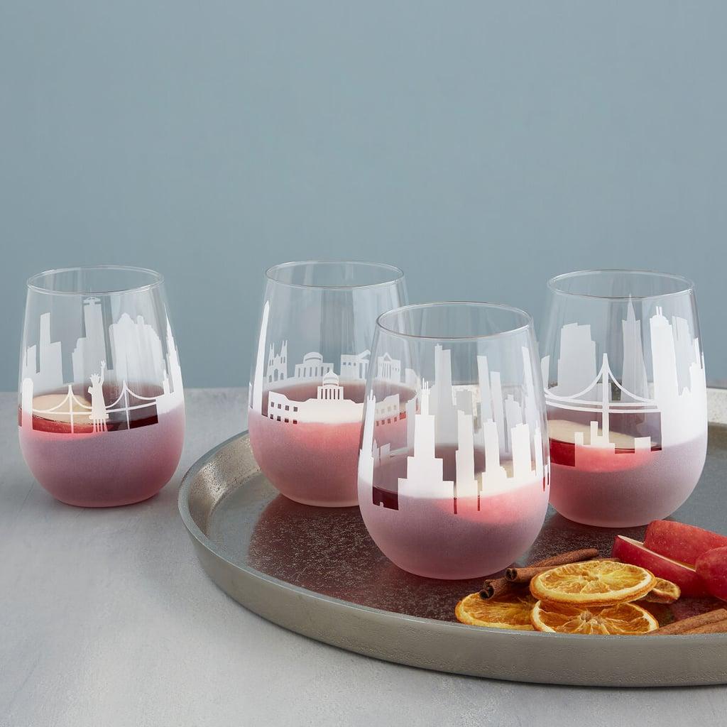 Etched Skyline Wine Glass