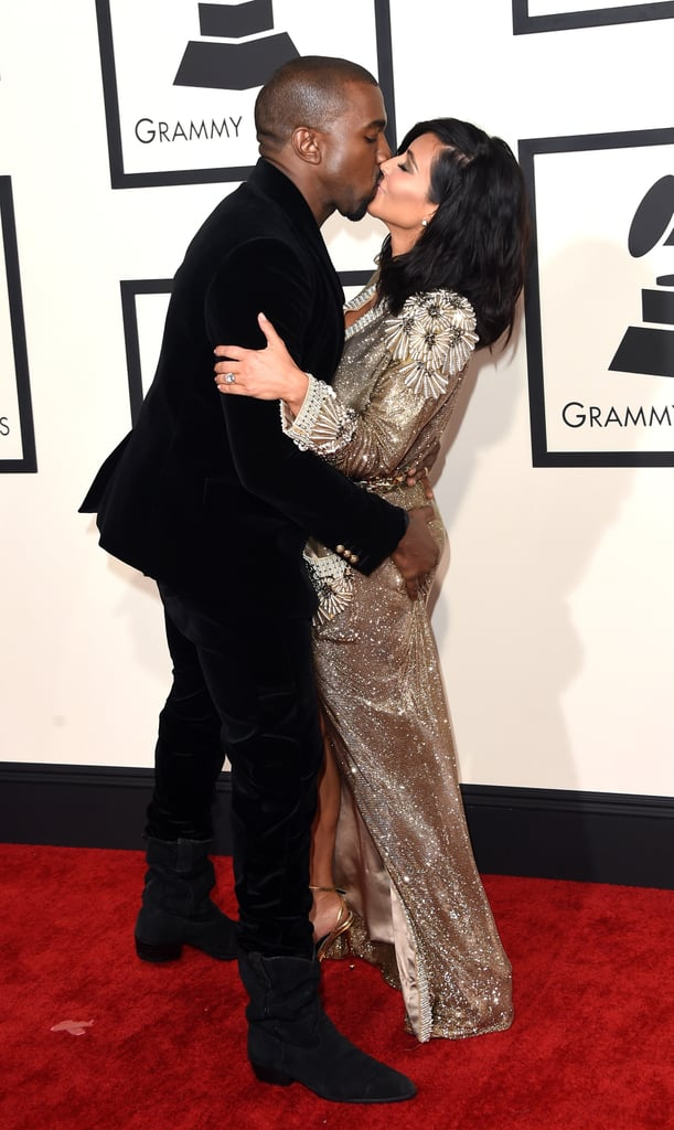 "There were plenty of celeb couples at the Grammys in LA on Sunday night, but Kim Kardashian and Kanye West took their love to another level. They embraced for the cameras on the red carpet with Kanye even grabbing Kim's bum while they kissed. The PDA wasn't the only thing getting Kim a little extra attention that night, since she was also showing off her new shorter haircut. The love fest continued inside the show, where Kanye took the stage to perform ""Only One"" and ""FourFiveSeconds."""