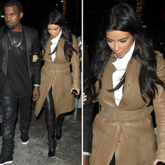 Kim Kardashian opted for a neutral holiday palette in camel, white, and black.