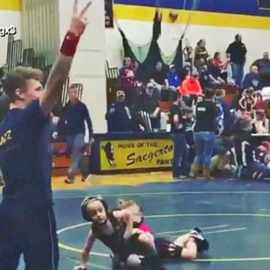 4-Year-Old Boy Runs Away From Girl at Wrestling