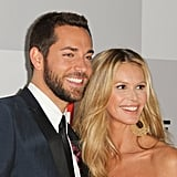 Zachary Levi and Elle Macpherson posed on the NBC post-Golden Globes party red carpet.