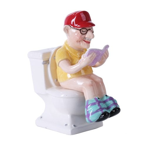 Pacific Giftware Reading Grandpa on Toilet Magnetic Salt and Pepper Shaker