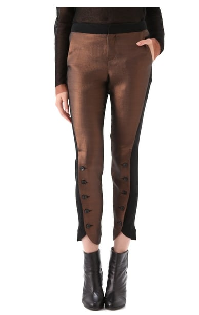 There's a cool, sportier sense to this pair, thanks to a cool side-stripe to contrast the metallic sheen. Rag & Bone Kutch Jodhpur Pants ($350)