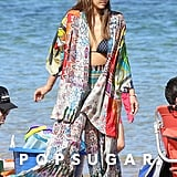 She Covered Her Strappy Triangle Bikini With Colorful Layers in Hawaii