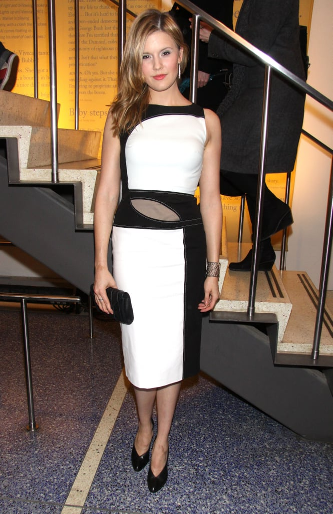 The black and white sheath dress Maggie Grace donned at the NYC premiere of The Flick was much like an art piece.