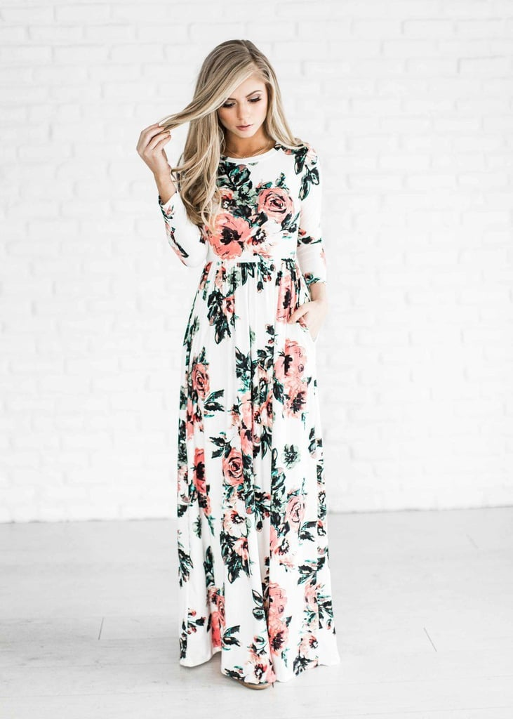 Youcoo Floral Printed Long-Sleeve Dress