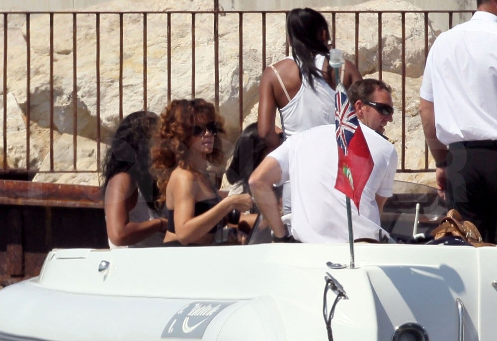 Rihanna and friends were shuttled out to their yacht.