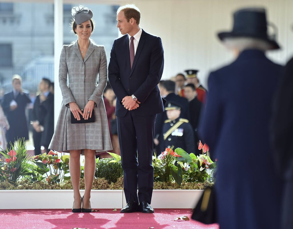 Kate made her first pregnant appearance during her second pregnancy on Oct. 21, 2014, when she joined the royal family to welcome the president of Singapore to London.