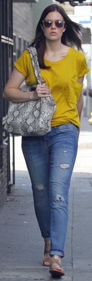 Mandy Moore Snake-Print Bag