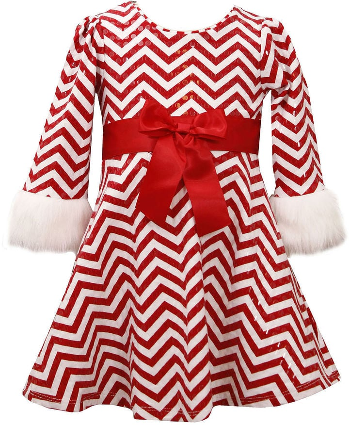 Bonnie Jean Chevron Santa Dress