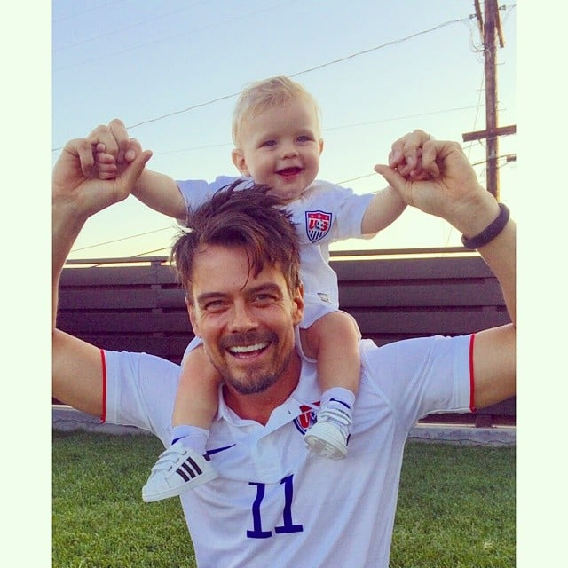 Josh Duhamel got really excited about the World Cup with his son, Axl! Source: Instagram user joshduhamel
