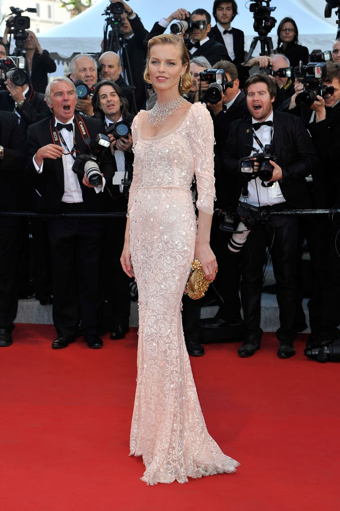 Eva Herzigova wore a pink lace Dolce & Gabbana gown enhanced by pretty crystal droplets.