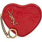 Saint Laurent YSL Croc Embossed Leather Heart Shaped Pouch