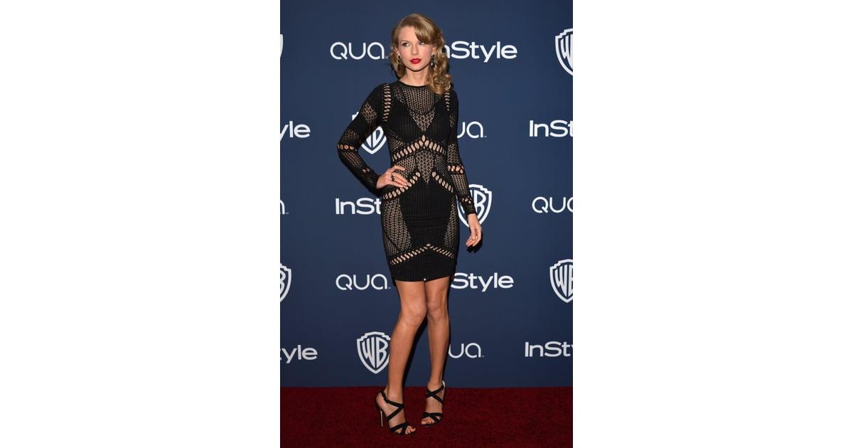 Taylor Swift rocked a short, rocker-chic dress for her night out   Celebrities at Warner Bros. Golden Globes Afterparty 2014   POPSUGAR Celebrity Photo 10