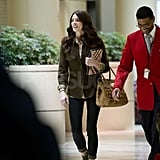 Ashley Greene with a Burberry iPad case.