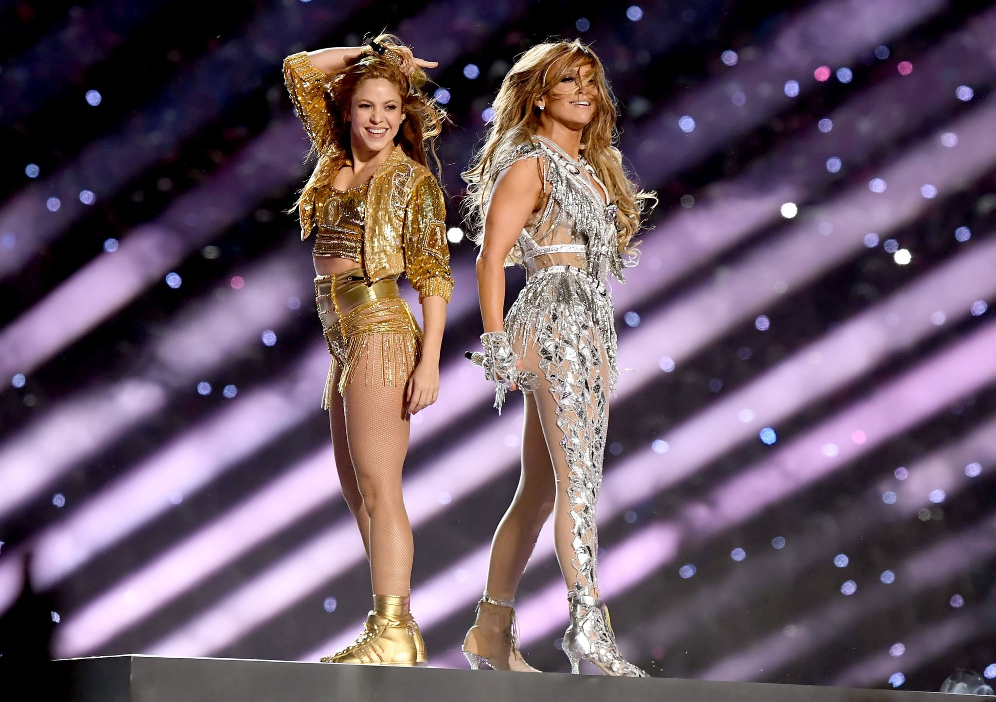 MIAMI, FLORIDA - FEBRUARY 02: (L-R) Shakira and Jennifer Lopez perform onstage during the Pepsi Super Bowl LIV Halftime Show at Hard Rock Stadium on February 02, 2020 in Miami, Florida. (Photo by Kevin Winter/Getty Images)