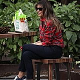 Melania's $1,500 Balmain flannel caused lots of buzz when she worked in the White House garden for the first time in September 2017. All part of the look? A pair of gray-blue low-top Converse sneakers. So far, we count three pairs of these . . .