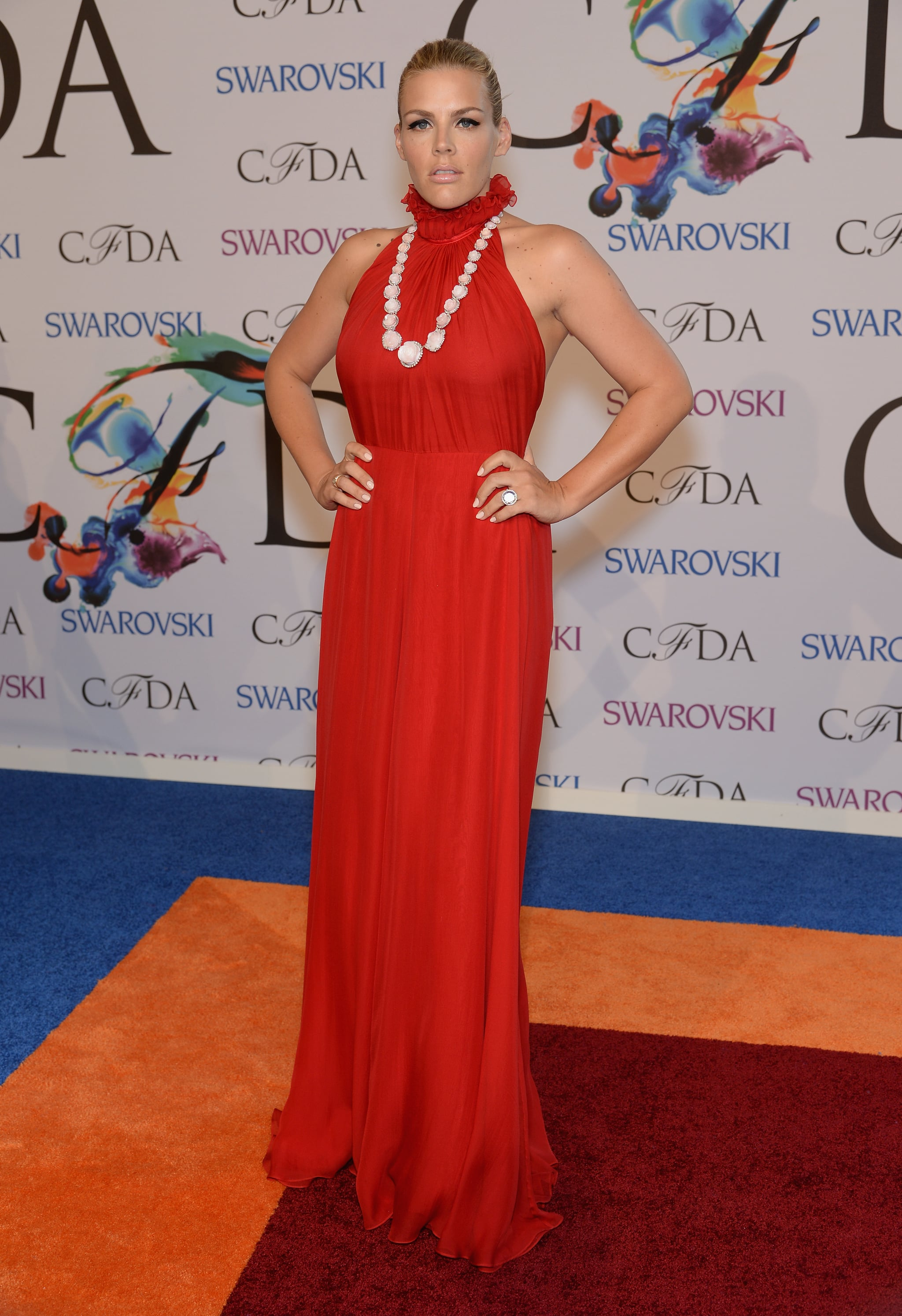 Busy Philipps attended the CFDA Awards in a bright dress and beads.
