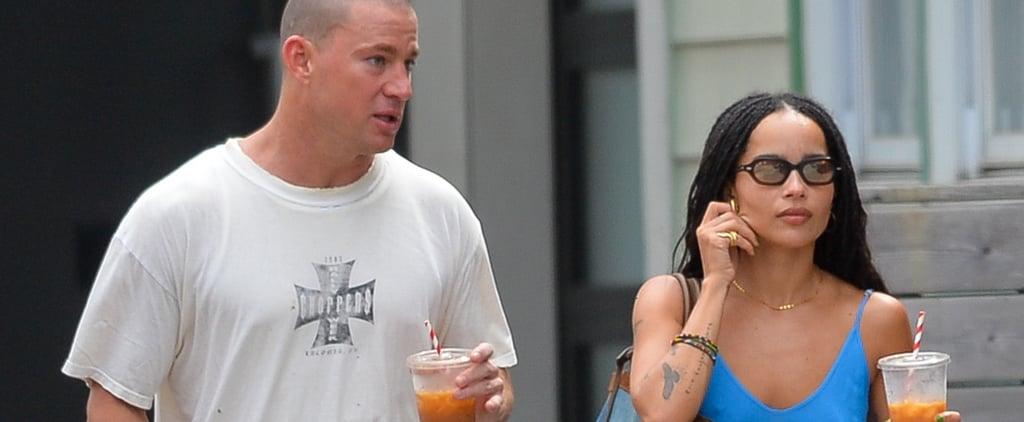 Zoë Kravitz Wears Blue Slip Dress Out With Channing Tatum
