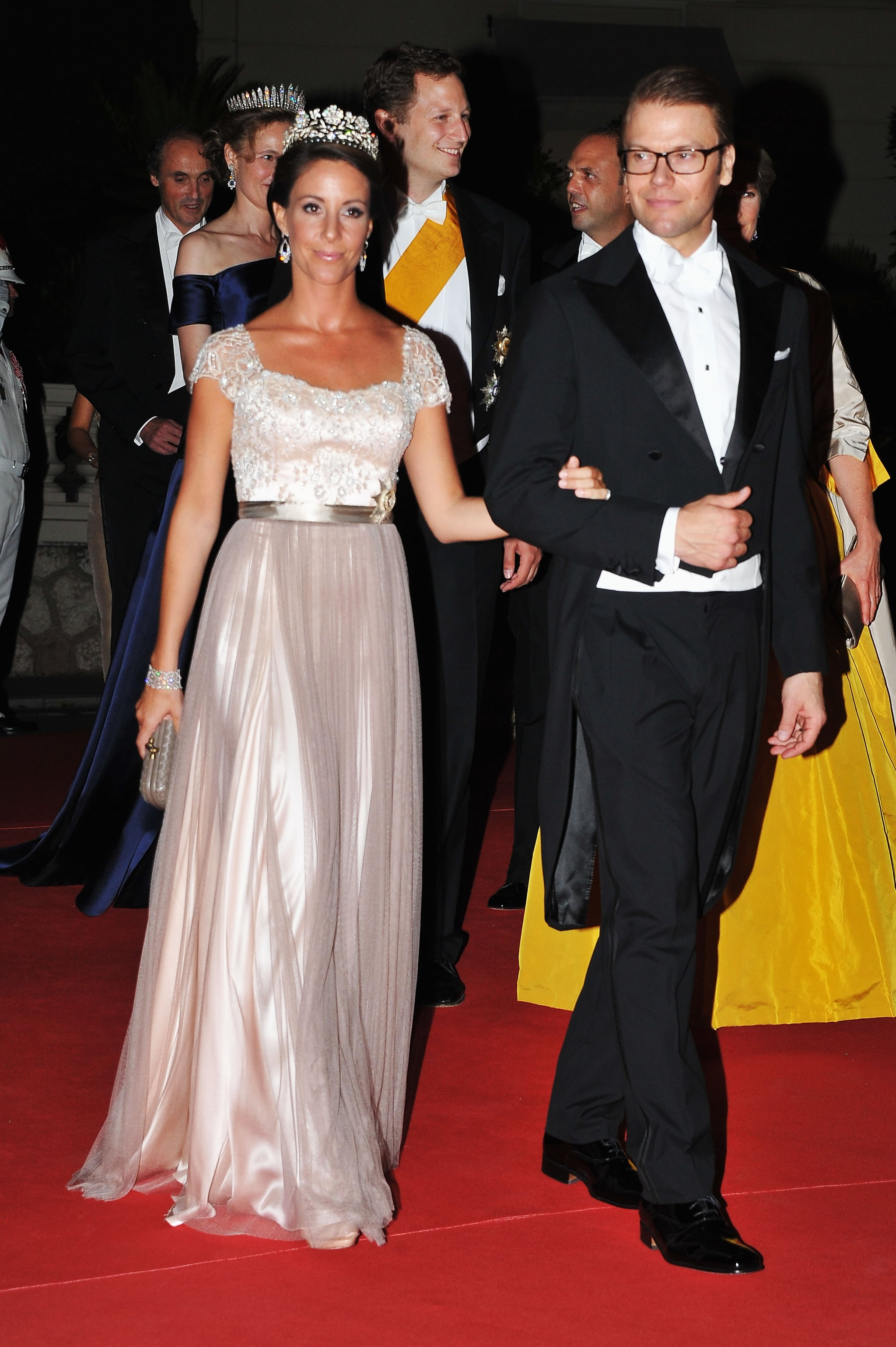 Prince Daniel, duke of Vastergotland, attended a dinner at Opera terraces after the religious wedding ceremony of Prince Albert II of Monaco and Princess Charlene of Monaco.