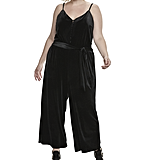 Velvet Wide Leg Jumpsuit in Jet Black